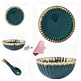 Nordic Platte Rice Bowl, Dunkelgrün Gold-Plattiert Vergoldet Keramikgeschirr Moderne Westliche Gerichte Startseite Porzellantischgeschirr Kombination Party, Weihnachtsessen