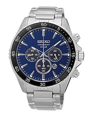 Seiko Herren Chronograph Solar Uhr mit massives Edelstahl Armband SSC445P1 (Seiko Solar Herren-uhr)
