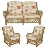 Cane Conservatory Furniture CUSHIONS ONLY full suite , Poppy Natural