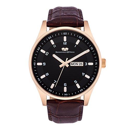 Rhodenwald & Söhne Courage Montre bracelet quartz homme acier inoxydable bracelet cuir 5ATM IPRG/BRO 10010112