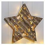 Beleuchteter Holzstern mit 12 LED's zum Aufhängen oder Stellen - Stern aus Holz LED Weihnachtsbeleuchtung Weihnachten Deko