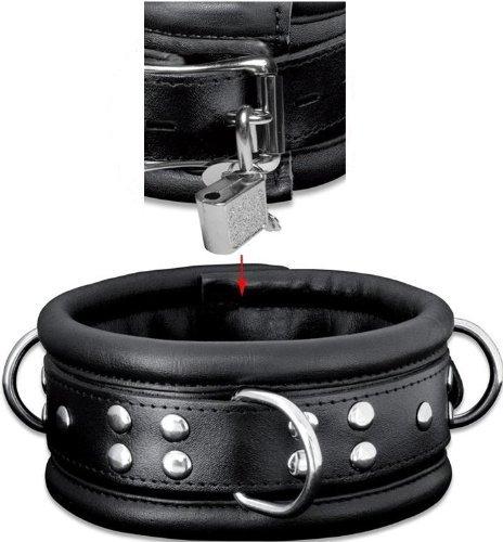 High Quality Bondage Erotik echt Leder Halsband gepolstert mit Ringe schwarz abschließbar inkl. Schloss
