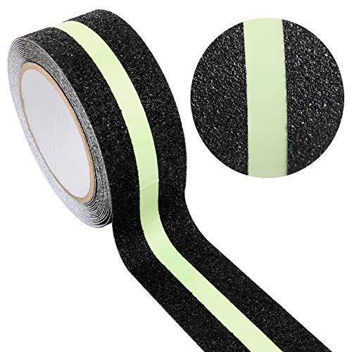 Gebildet 2 In 1 Anti-Rutsch-Leuchtband, Schwarz Anti-Rutsch-Klebeband, im dunklen leuchten Sicherheit Klebeband, Selbstklebendes Anti-upturned Tape für Treppen/Schritte (5cm×5m) - 2 Schwarz Klebeband 1