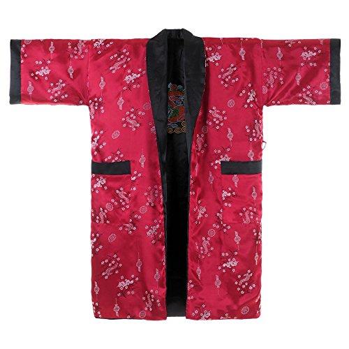Princess of Asia Japanischer Wende-Kimono Satin Morgenmantel für Damen & Herren mit Drachen-Stickerei - Dragon Samurai Kostüm