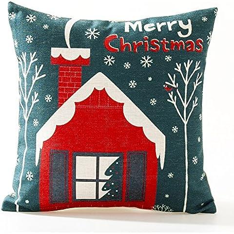 Yifom Nuovo anno di doni pupazzo cuscini cuscino red winter snow divano auto decorativi cuscini (Deer Coperta Del Tiro)