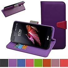 LG X Screen Custodia,Mama Mouth Portafoglio custodia in PU di cuoio pelle con supporto carte di credito in Piedi caso Case per LG X Screen Smartphone,Viola