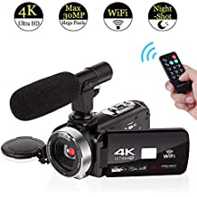 4K Videocámara con Micrófono Cámara de vídeo WiFi Digital Videocamara Full HD 30.0MP Pantalla Táctil
