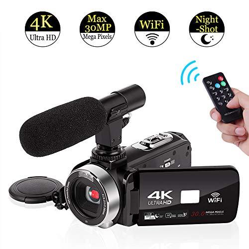 4K Videocámara con Micrófono Cámara de vídeo WiFi Digital Videocamara Full HD 30.0MP Pantalla Táctil de 3.0 Pulgadas con IR Visión Nocturna 16X Digital Zoom