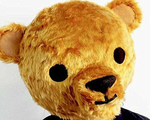(Teddybär große Kostüm Kopf Maske. Erwachsenen oder Kind. Einstellbare Größe. NUR KOPF. Tierkopfschmuck Farbe Ingwer braun. Handgefertigt von Tentacle Studio)