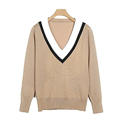 CHLXIWomen's Clothing Sweater Fight Color V-neck Long Sleeves Loose,A-M