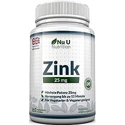 Zink gluconat 25mg 365 Tabletten (12 Monatsversorgung), 1 leicht zu schluckende Tablette pro Tag von Nu U Nutrition