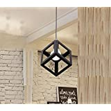 Beverly Studio 6.5 Inches Cube Black Metal Square Cube Shape Hanging Light Pendant Ceiling Lights Lamp Industrial Retro Country Style Led Bulb Dining Hall Restaurant Bar Cafe Lighting Use (No Bulbs Provided)