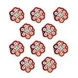 Kleidung Accessoires Beste Deals - HAND ® No.12 Rote und silberne Pailletten Kleine Perlen Diamonte Aufnäher auf Blumen-Borte - Verzierungen für Kleidung, Accessoires - Packung mit 10
