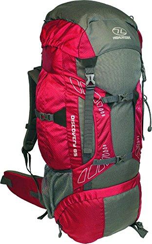 Highlander Discovery - Mochila de senderismo, color rojo / gris, 85 L