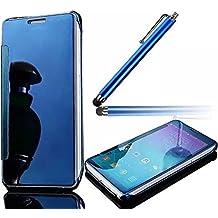 Vandot Clear View Cover Flip Case para Huawei P9 Premium Funda Ultra Delgado Slim PC Carcasa Estuche Transparente Inteligente Case con Tapa Espejo y Esquinas de Metal Anti Caido y Resistente a Aranazos + Lapiz Optico, Azul Claro
