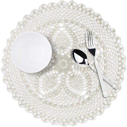 Sets de Table, MANLEHOM Napperon Crochet Rond Résistant à la Chaleur - 38cm en Beige