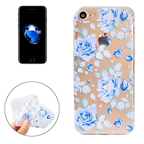 Movoja® [ iPhone 7 / iPhone 8 Hülle Case ] | PERFEKTE Passform | TPU Schutzhülle Crystal Case | Durchsichtige Silikon Hülle transparent iPhone7 / iPhone8 klar Cover Apple Case Silikon Crystal Case für Blaue Rosen