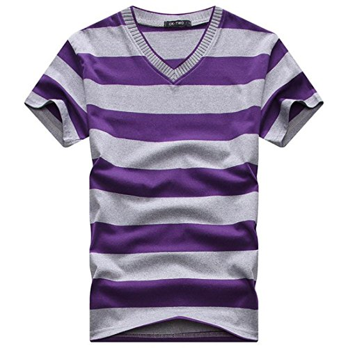 Men's Fashion Striped V-Neck Short Sleeve Tee Shirt V15