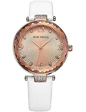 XLORDX Mode Designer Klassisch Strass Damenuhr Weiß Leder Uhr Optik Silber Strassuhr
