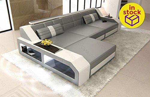 Divanova antares – divano angolare in similpelle - grigio e bianco