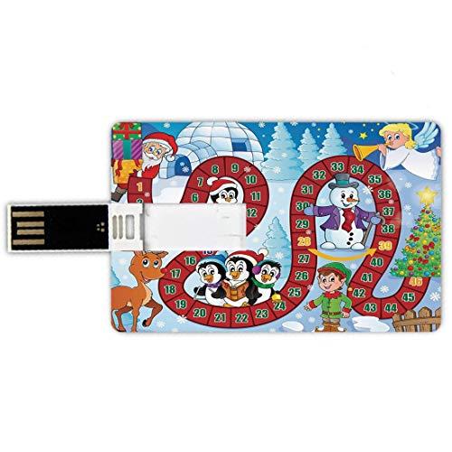 32gb chiavette usb a forma di carta di credito gioco da tavolo memory card stile carta di credito composizione a tema natalizio con babbo natale cartoon angelo pupazzo di neve pinguini elfo,multicolor