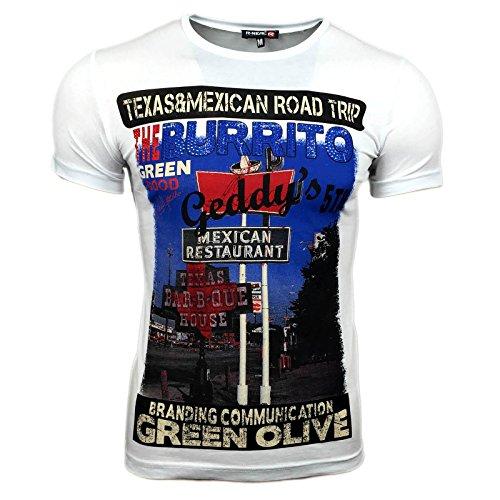 Herren T-Shirt Mix Motive Strass Steine Style Rundhals Kurzarm S M L XL XXL NEU 6514 Weiß