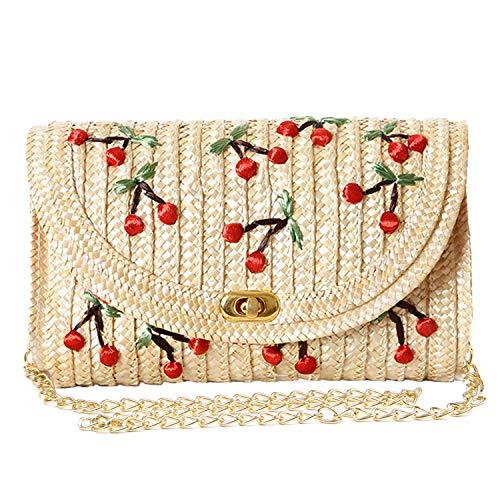 Gewebte Clutch-handtasche (EVEOUT Stroh Clutch Geldbörse, Frauen Chic Obst Banane Kirsche Mode Crossbody Schulter Umhängetasche für Sommer Strand)