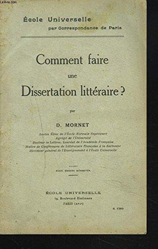 COMMENT FAIRE UNE DISSERTATION LITTERAIRE