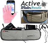 Navitech Active Bundle Smartphone Wasser Wiederständiges Neoprane Soprt / Jogging / Lauf Fitnesgürtel / Bauchtasche in Grau & Pink Touchscreen Handschuhe für das Sony Xperia Z3 Compact / Sony Xperia Z1 Compact