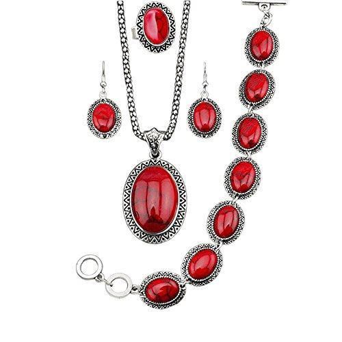 MESE London Collar de Piedras Vintage Rojo con Brazalete y Pendientes Engastados 'The Eldersoul' en Caja de Regalo Elegante