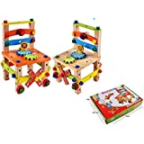 AdiChai Tool Chair Set For Kids - Changed Nut Dissembling Chair --- Eco Friendly Wooden Toys For Kids