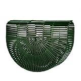 Holeider Henkeltaschen, Damen Handgelenkstaschen Bambus Handtasche Handgefertigt Große Taschen Strandtaschen Strand Umhängetasche Shopper (Grün)