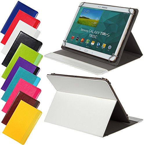 Preisvergleich Produktbild Universal elegante Kunstleder-Tasche für verschiedene Tablet Modelle (9 /10 /10.1 Zoll, Weiß) Größe Schutz Case Hülle Cover, Neigungswinkel verstellbar, mit Gummibandverschluss in gleicher Farbe