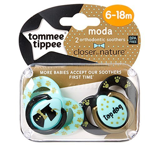 Tommee Tippee moda chupetes 0 – 6 M, 6 – 18 M azul Blue/Black/Gold