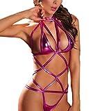 Lingerie Babydoll Set SamMoSon Donna Sexy Bendare Clubwear Spogliarellista Brevetto Pelle Biancheria Intima Completi Intimi (Viola)