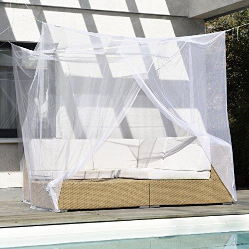FREILUFTRAUM großes Moskitonetz für Doppelbett mit Zwei Öffnungen I Mückenschutz Baldachin Betthimmel weiß 200x220x200cm