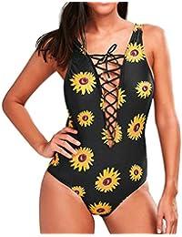 Bañadores Deportivas Mujer, Xinan Push-Up Padded Bikini Conjunto De Impresión Floral Swimwear Bra