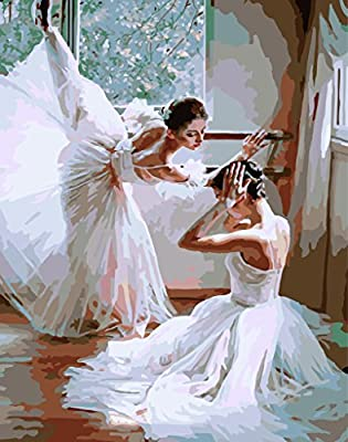[ New Release ] Diy Oil Painting by Numbers, Paint by Number Kits - Ballet Dancing 16*20 inches - Digital Oil Painting Canvas Wall Art Artwork Landscape Paintings for Home Living Room Office Christmas Decor Decorations Gifts - Diy Paint by Numbers Diy Can