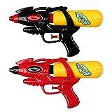 S/O® 4er Pack Wasserpistole 21cm mit Tank rot / schwarz Wasserpistolen Wasser Pistole Water Gun Watergun Wassergewehr Wassergewehre -