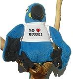 Loro azul de peluche con Amo Russel en la camiseta (nombre de pila/apellido/apodo)