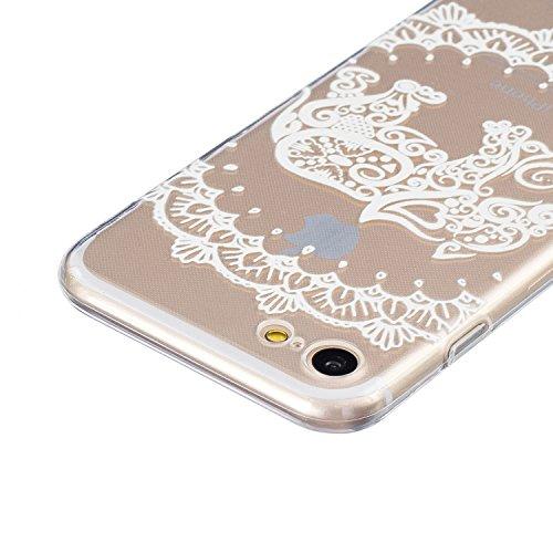 SainCat Custodia per Apple iPhone 7 Cover,Ultra Slim trasparente TPU Crystal Clear Morbido Copertura Case Cover per iPhone 7,Disegni Lusso Vans Belle Creative Marvel Fantasia Campanula Puro Trasparent elefante fiore
