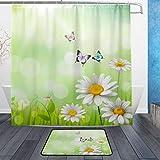 ISAOA Kleine Gänseblümchen-Matte für den Innenbereich, 60 x 40 cm, wasserdicht, 183 x 183 cm, waschbarer Duschvorhang mit 12 Haken
