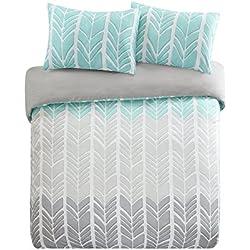 SCM Bettwäsche 230x220cm Grau Grün Mikrofaser 3-teilig Bettbezug & Kissenbezüge 50x75cm Geometrisch Chevron Adel Übergröße Ideal für Schlafzimmer