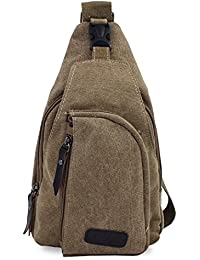 PsmGoods® Viajes hombres del bolso de hombro del ocio de bolsillo Senderismo Mochila pecho bolsa Sling Caqui