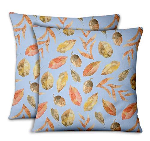 S4Sassy Blau Samt Blätter Eichel & Herbst dekorative Kissen Kissenbezug Cases für Schlafsofa 2stk-14 x 14 Zoll - Herbst Dekorative Kissen