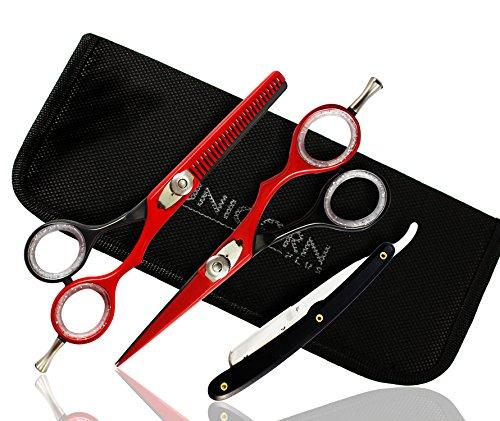 [Zeitlich begrenzte Angebot] Super Sharp 5,5 Zoll 2 x Professional Hair Styling Schere/Haar schneiden Schere/Barber Scissors Effilierschere mit Friseurschere Kit