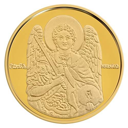 Medaille mit Münze, Motiv Heiliger Michael der Erzengel, Gelbgold 16 mm, 0.07oz, 2.25 g