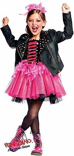 Italian made Baby, Kleinkinder &ältere Mädchen Prestige Sammlung Super Deluxe Rock Star Lederjacke & Tutu Kleid Kostüm Kleid Outfit 0-12 Jahre - Schwarz, 8 (Kostüm Rockstar Super)