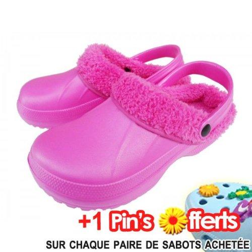 Sabots Crap's, Fourrée Fushia Rose