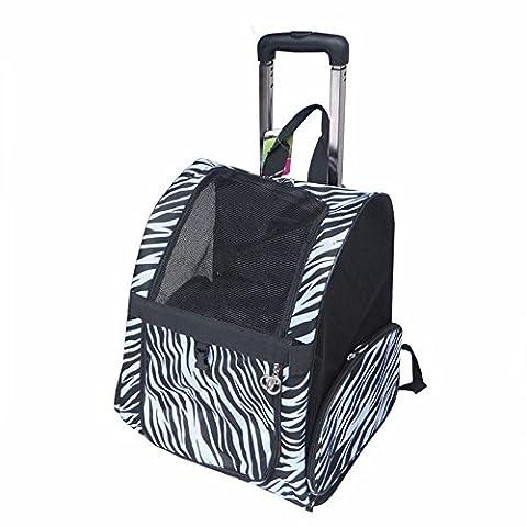 KAI-Forfait animal pour porter le sac à dos du levier fournitures chien hors forfaits voyage universel portable pet replier ?42X23X43cm?Zebra pattern